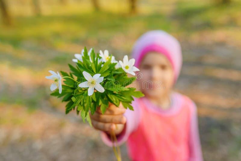 Liten le flicka med anemonnemorosa royaltyfria bilder