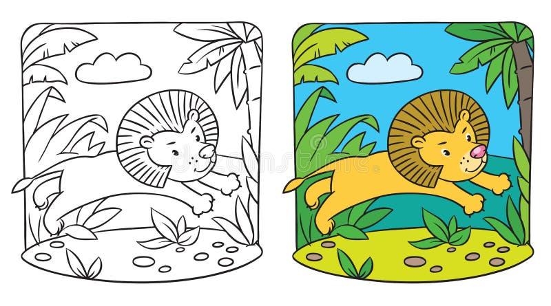 Liten lejonfärgläggningbok royaltyfri illustrationer