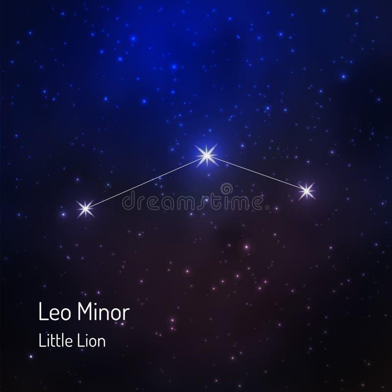 Liten Lion Leo mindre konstellation i den stjärnklara himlen för natt vektor illustrationer