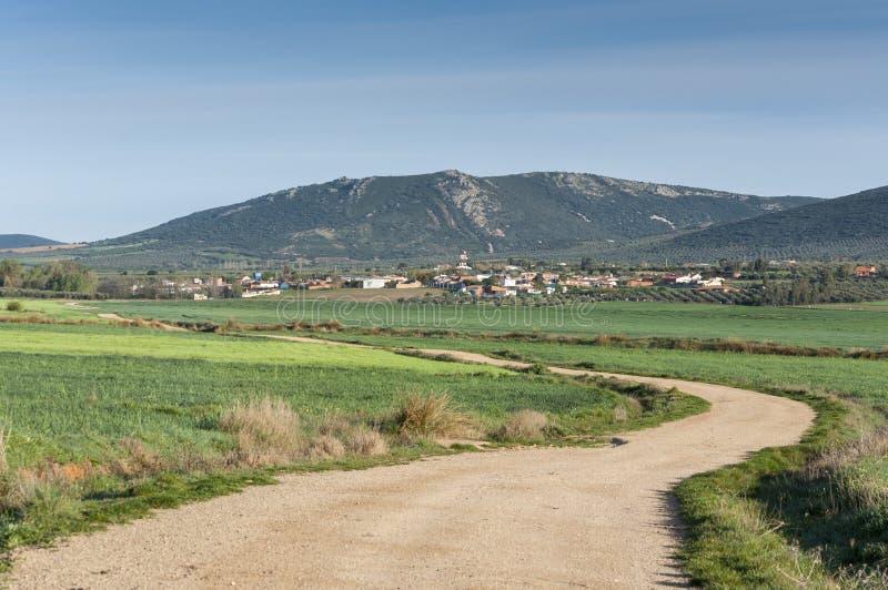 Liten liten by i La Mancha fotografering för bildbyråer