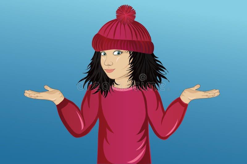 Liten lycklig flicka i hatten som visar en gest med två händer stock illustrationer