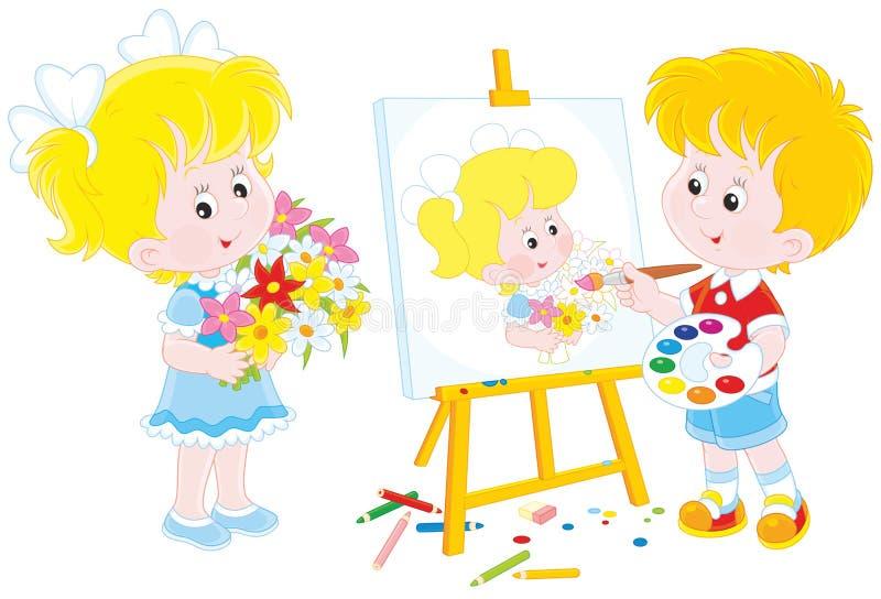 liten målare royaltyfri illustrationer