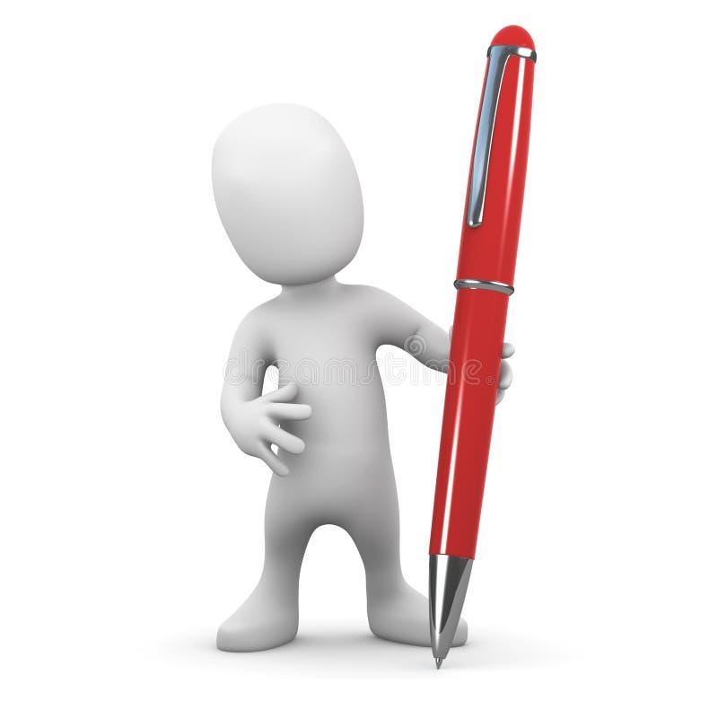 liten man 3d med en penna royaltyfri illustrationer