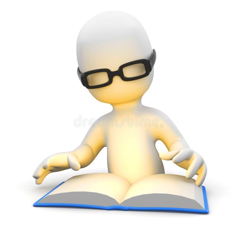 liten man som 3d läser en bok royaltyfri illustrationer