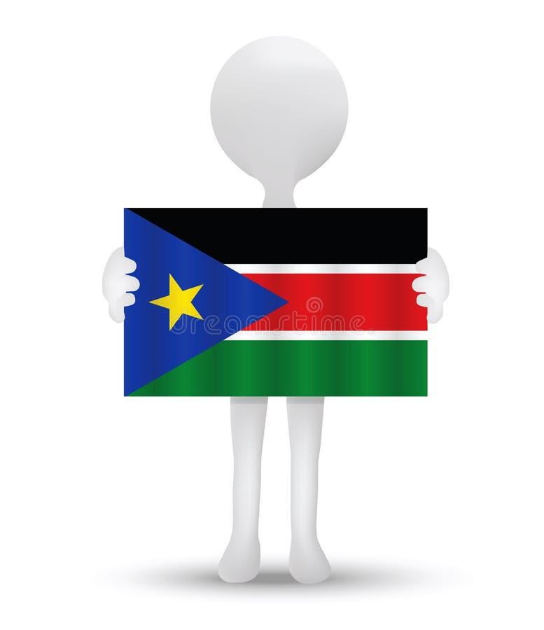 liten man som 3d rymmer en flagga av republiken av södra Sudan royaltyfri illustrationer