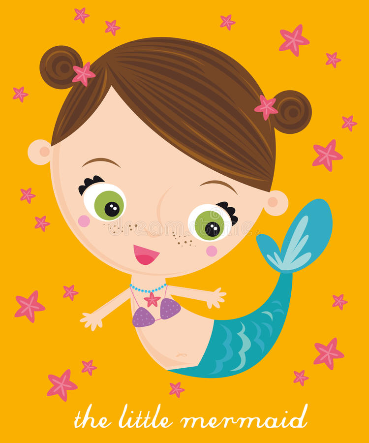 liten mermaid royaltyfri illustrationer