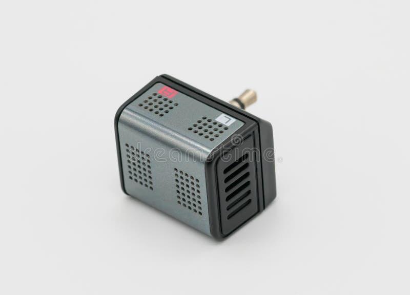 Liten mini- stereo- mikrofon i metalliska grå färger med 3 5mm ljudsignal j royaltyfria foton