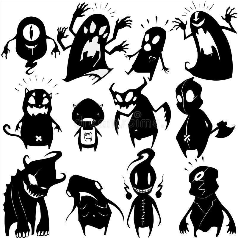 Liten monsteruppsättning 04 royaltyfri illustrationer
