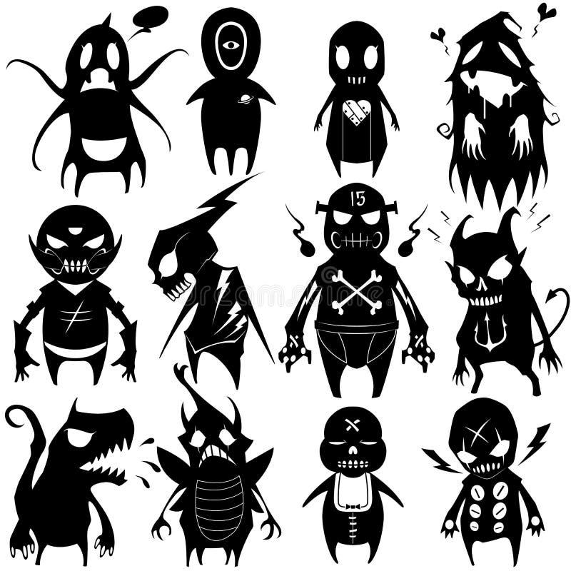 Liten monsteruppsättning 05 stock illustrationer