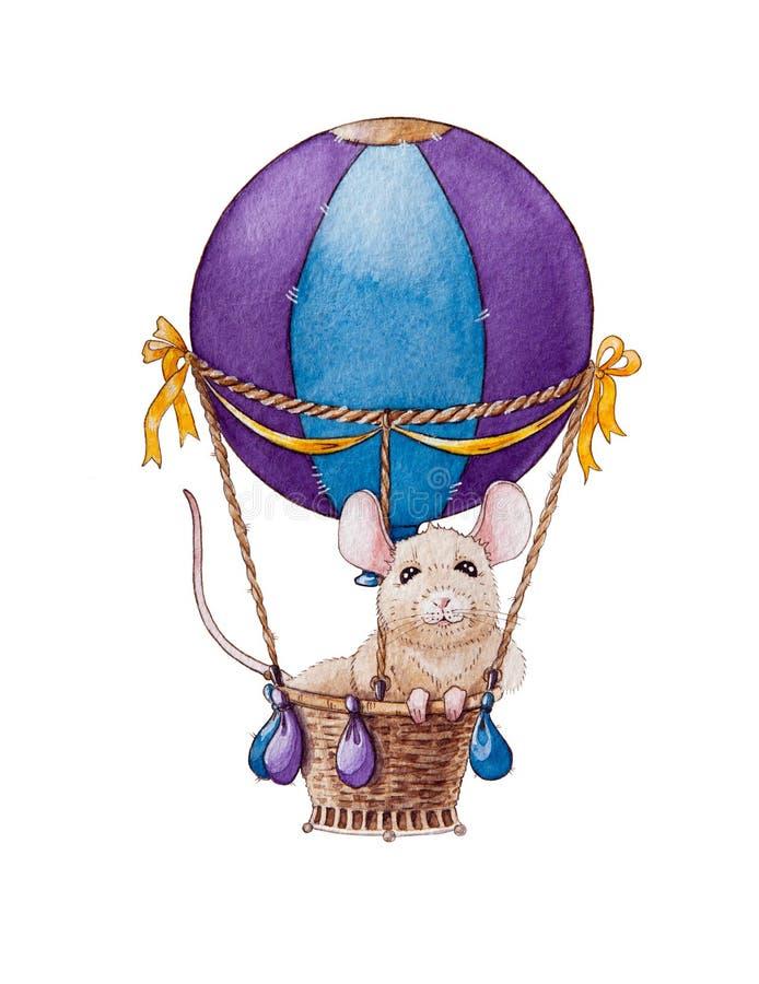 Liten mus för vattenfärg eller att tjalla illustrationen som reser i luftballong Kinesiskt zodiaksymbol av det nya året 2020 royaltyfri illustrationer