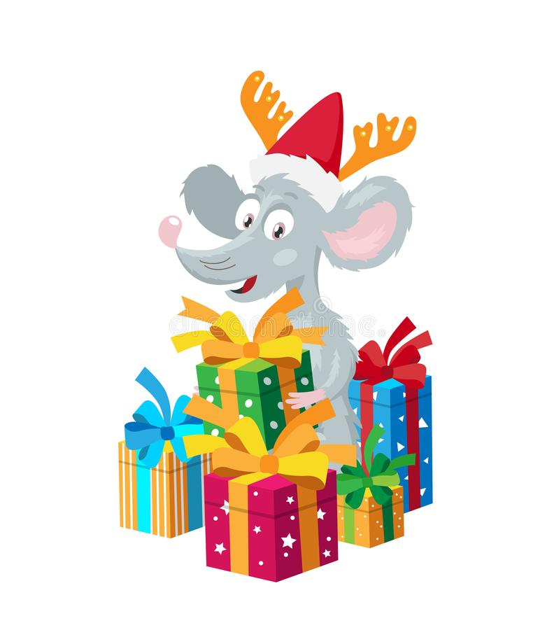 Liten mus i en röd hatt med hjorthorn som omges av gåvaaskar royaltyfri illustrationer