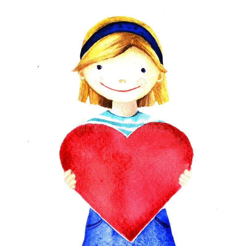Liten nätt härlig le flicka som rymmer stor röd hjärta i hans händer Isolerad målad illustration för vattenfärg hand vektor illustrationer