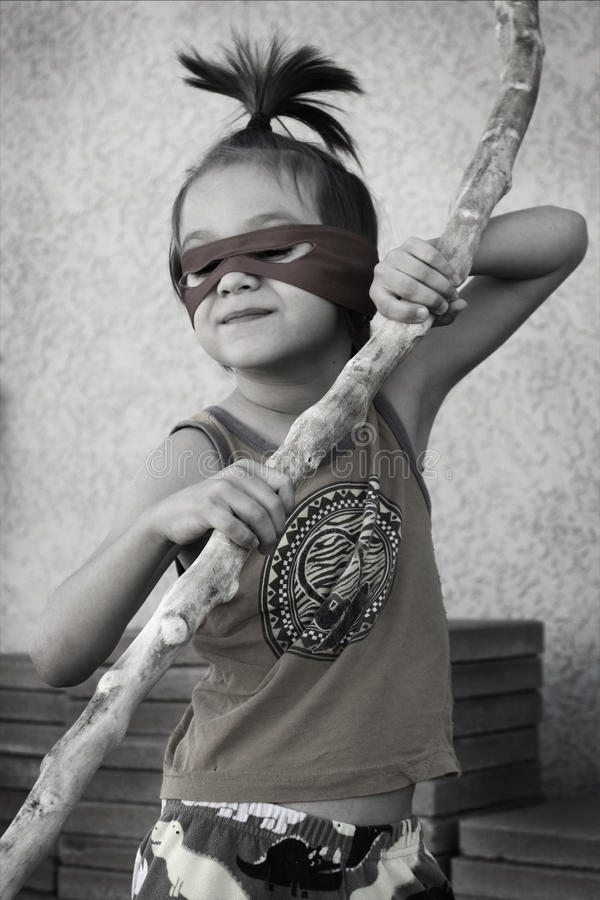 Liten Ninja pojke arkivfoto