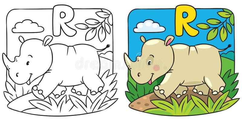Liten noshörningfärgläggningbok alfabet r vektor illustrationer