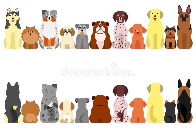 Liten och stor hundkapplöpninggränsuppsättning royaltyfri illustrationer