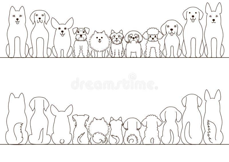 Liten och stor hundkapplöpninggränsuppsättning stock illustrationer