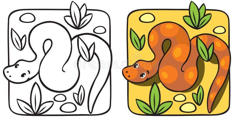 Liten ormfärgläggningbok vektor illustrationer