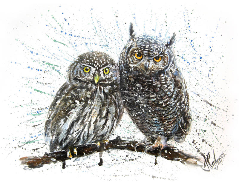 liten owl stock illustrationer