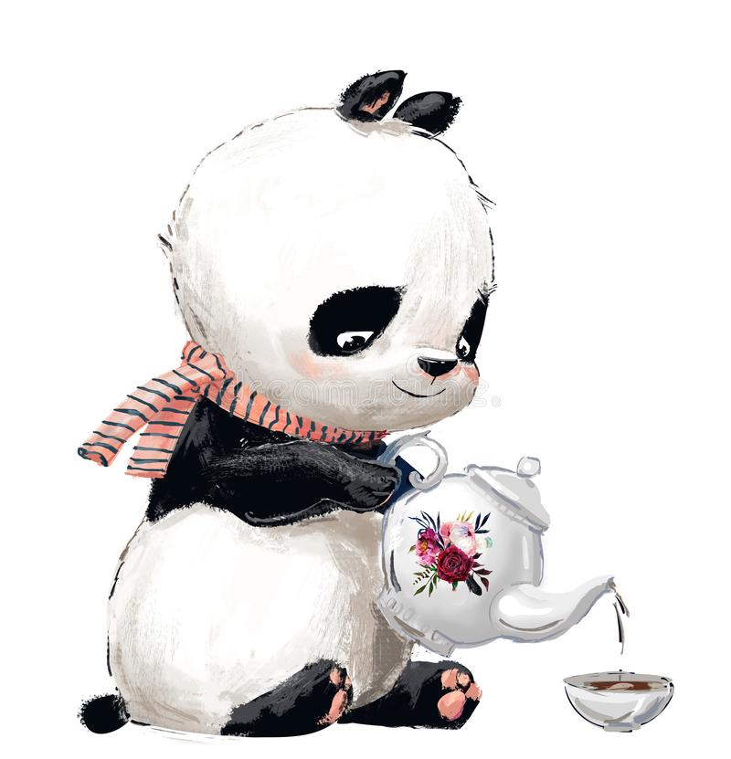 Liten panda med te royaltyfri illustrationer