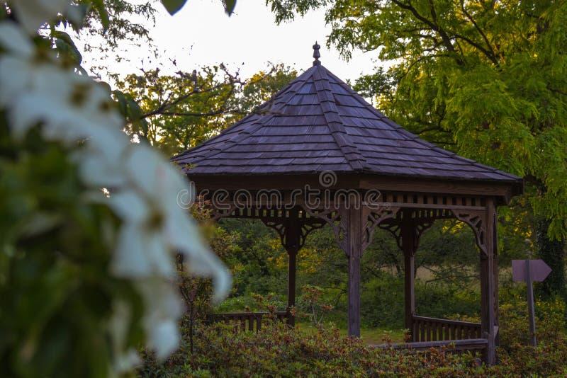 Liten pergola i den offentliga arboretumen i Bokrijk i Belgien arkivfoto