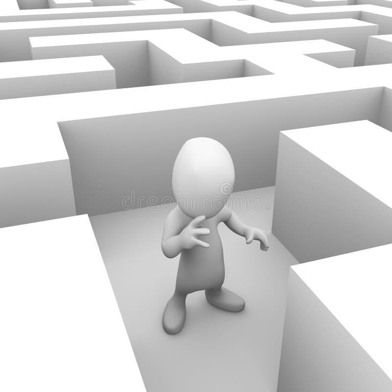 liten person som 3d är borttappad i labyrinten vektor illustrationer