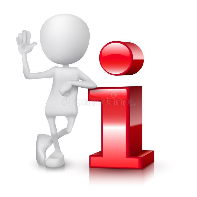 liten person som 3d nära står till en informationssymbol stock illustrationer