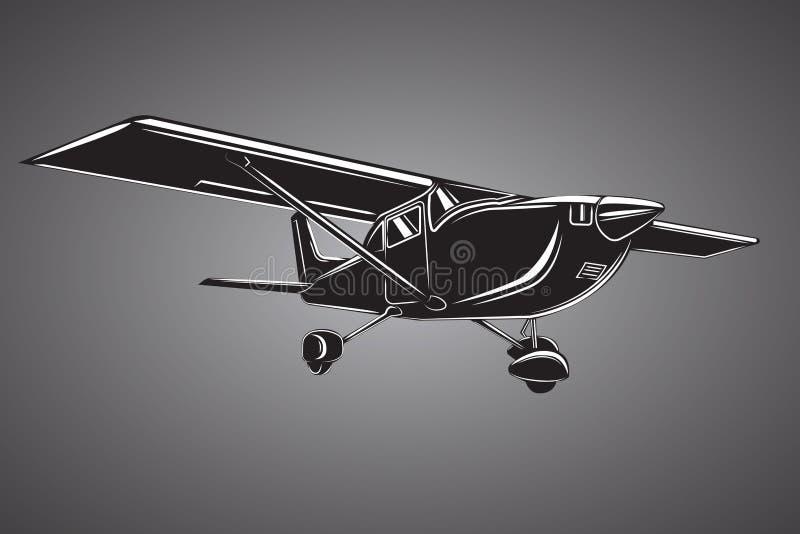 Liten plan illustration Framdrivit flygplan f?r enkel motor Luft turnerar wehicle vektor illustrationer
