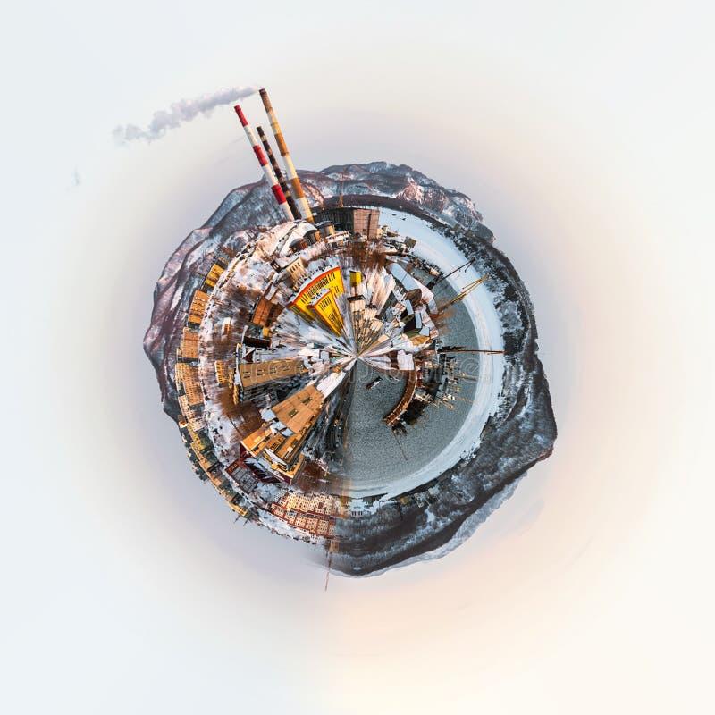 Liten planet 360 grad sfär Panoramautsikt av den Petropavlovsk-Kamchatsky staden vektor illustrationer