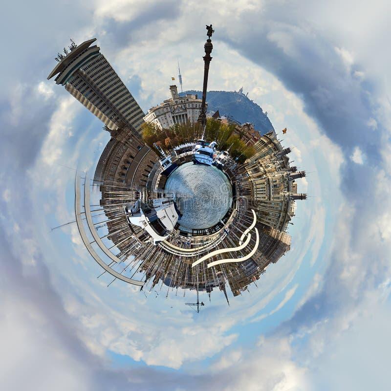 Liten planet 360 grad sfär Panoramautsikt av Rambla de Fördärva i den Barcelona staden royaltyfri illustrationer
