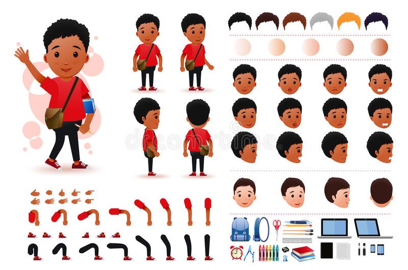 Liten pojkestudent Character Creation Kit Template för svart afrikan med olika ansiktsuttryck vektor illustrationer