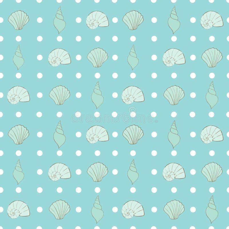 Liten polka Dots Seamless Repeat Pattern Vector för sommarstrandkust vektor illustrationer
