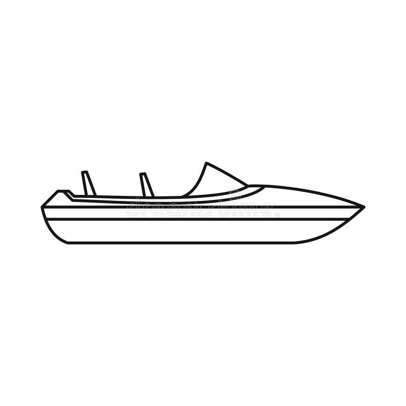 Liten powerboatsymbol, översiktsstil royaltyfri illustrationer