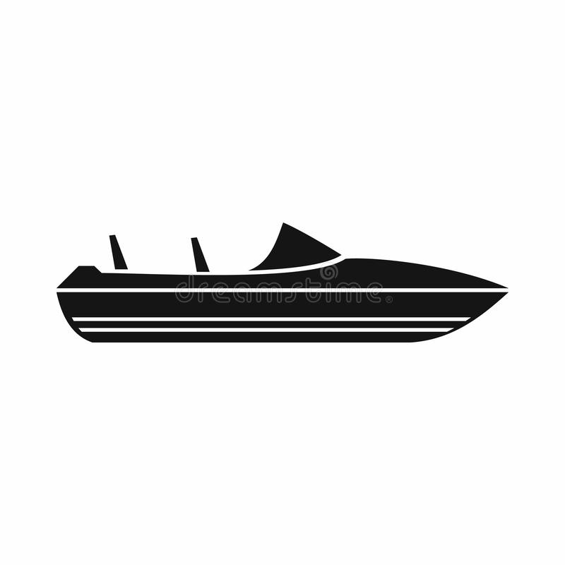 Liten powerboatsymbol, enkel stil royaltyfri illustrationer