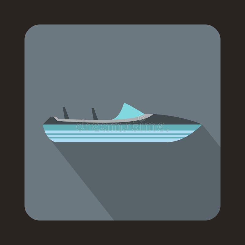 Liten powerboatsymbol, lägenhetstil vektor illustrationer