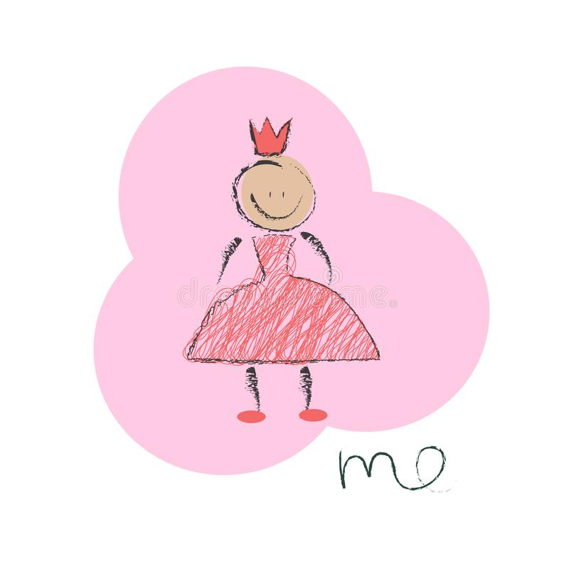 liten princess för flicka stock illustrationer
