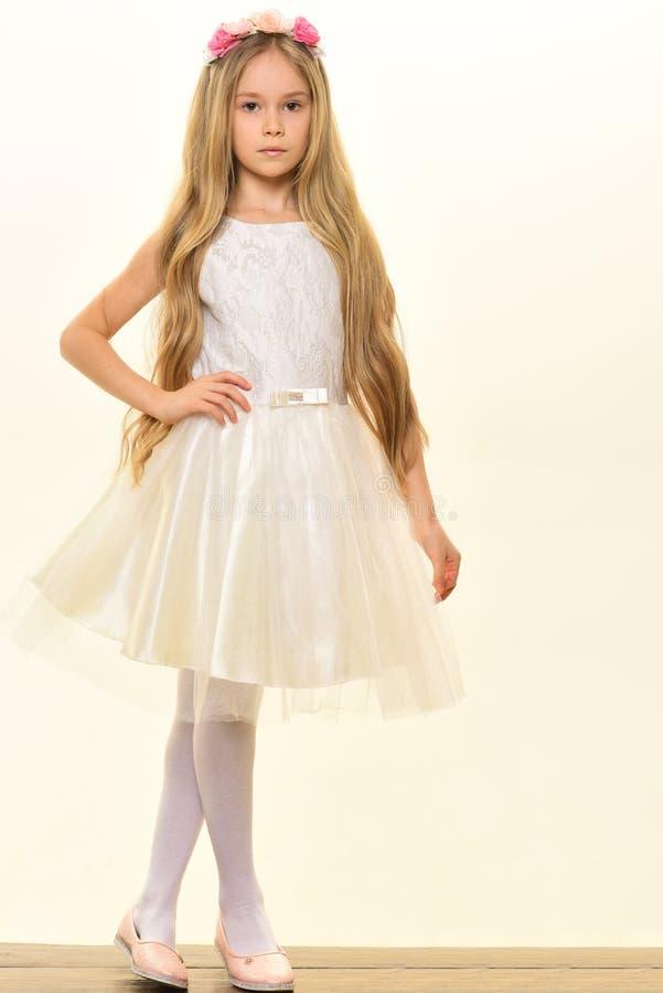 liten princess liten prinsessa i härlig klänning liten prinsessa som isoleras på vit liten prinsessa med långt krabbt hår arkivfoton