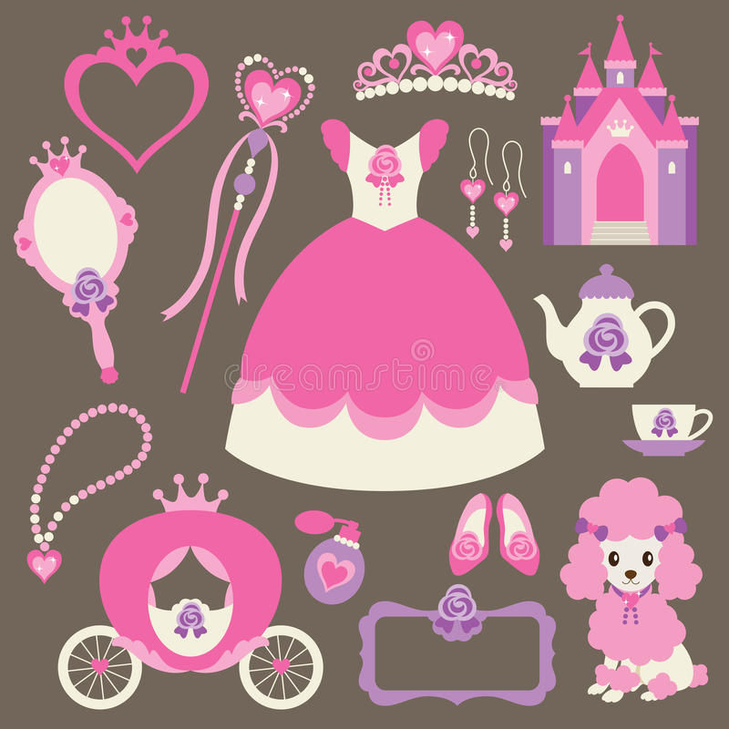 liten princessset royaltyfri illustrationer