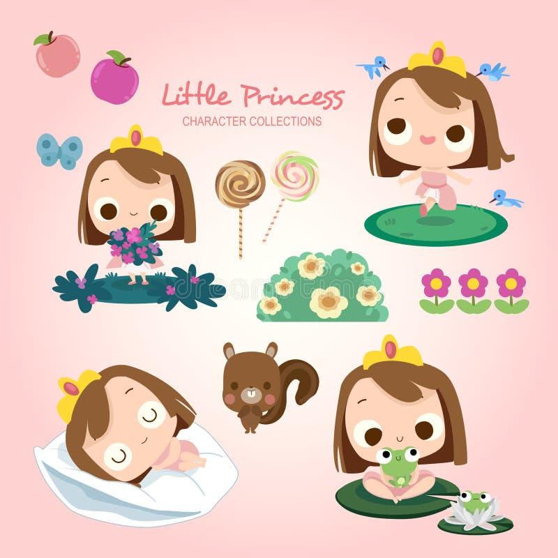 Liten prinsessa Daily Activities stock illustrationer