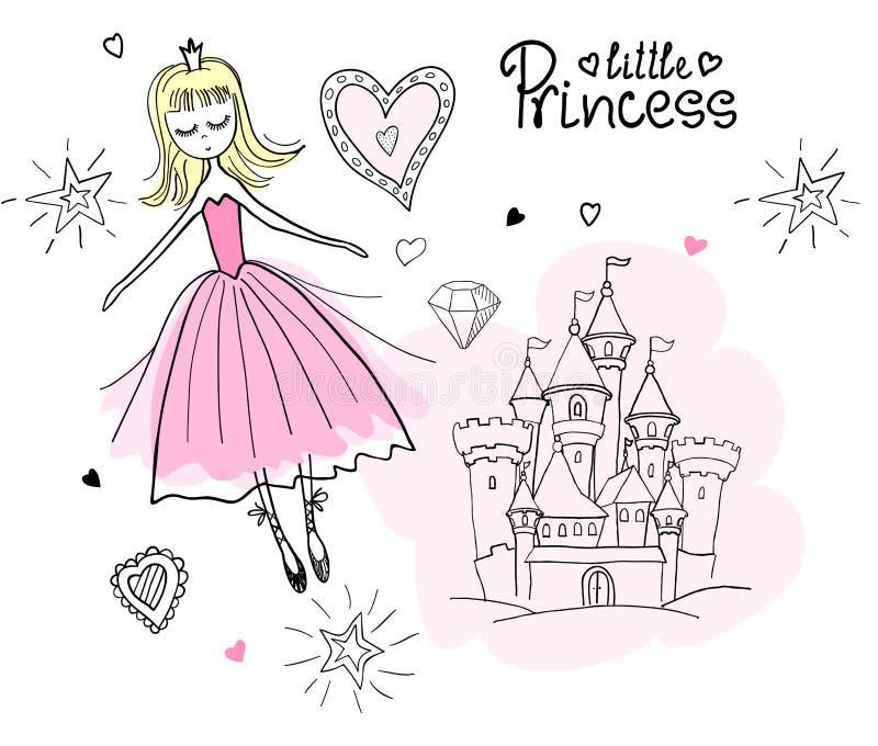Liten prinsessa i molnen stock illustrationer