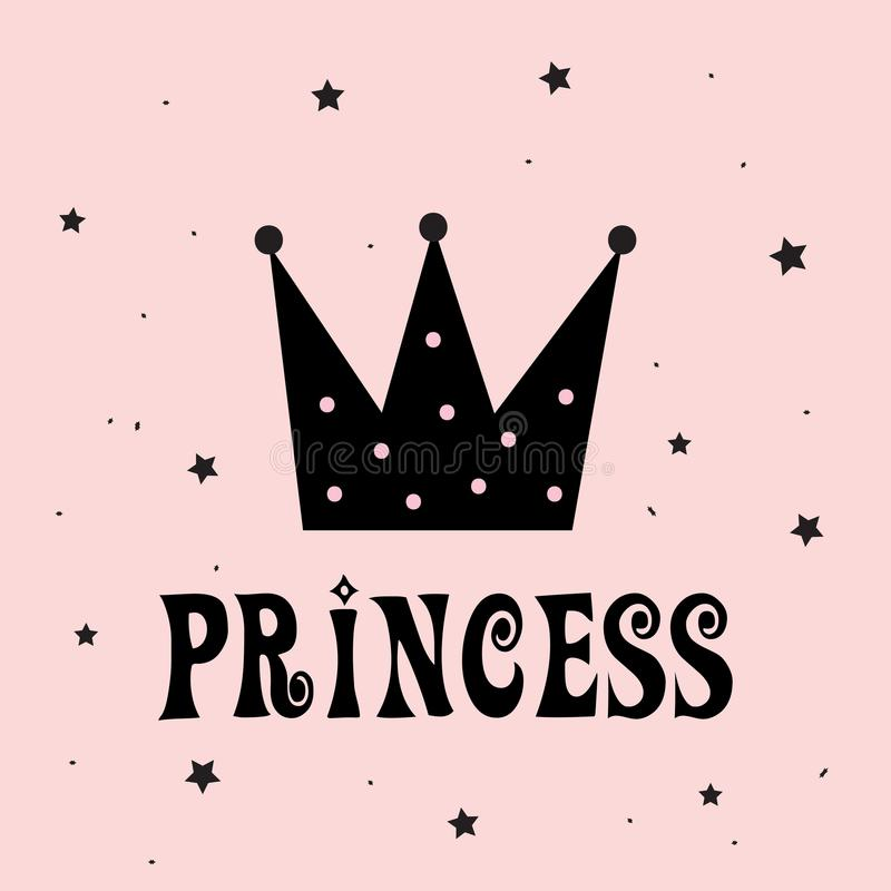 Liten prinsessa med kronaslogan royaltyfri illustrationer