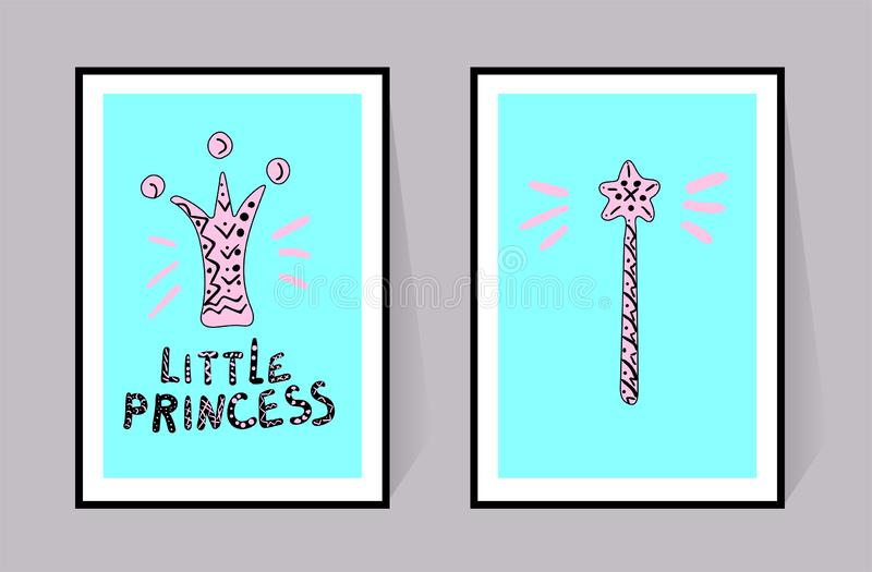 Liten prinsessainskrift, krona och trollspö Två rosa affischer med den svarta linjen Vektordekoruppsättning för barnkammare akvar royaltyfri illustrationer