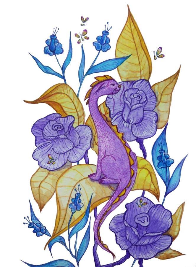 Liten purpurfärgad drake som sitter i blommor vektor illustrationer