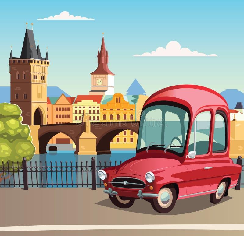 Liten röd bil i Prague och Charles Bridge i bakgrund stock illustrationer