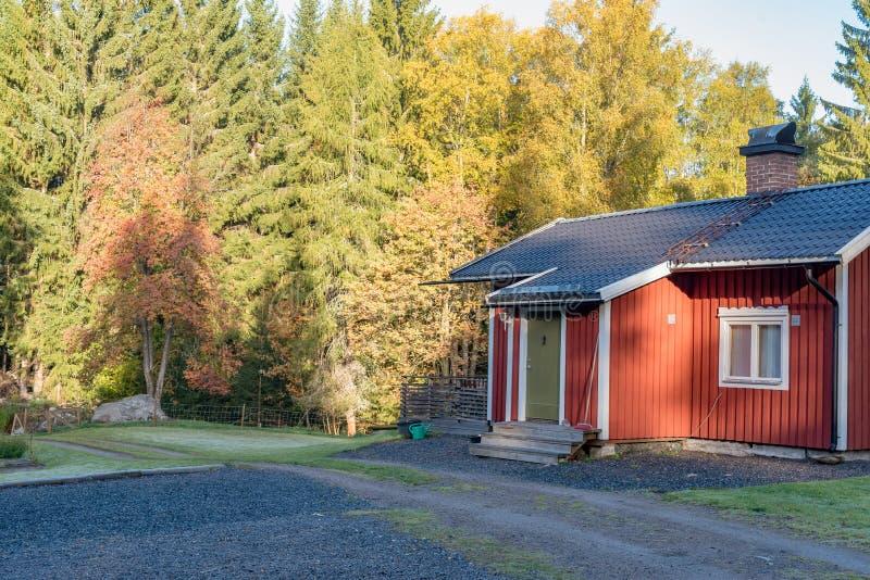 Liten röd kabin med en grön dörr i den svenska skoghösten 2018 royaltyfria bilder