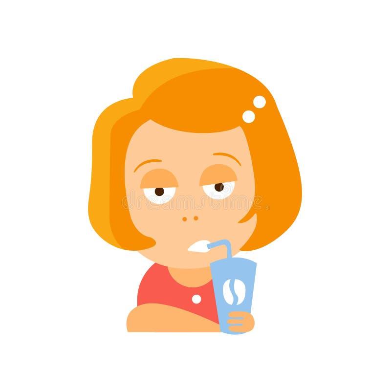Liten röd kvinnlig elevrepresentant i röd klänning som dricker kaffe med den spydiga Emoji för stående för tecken för framsidaläg stock illustrationer