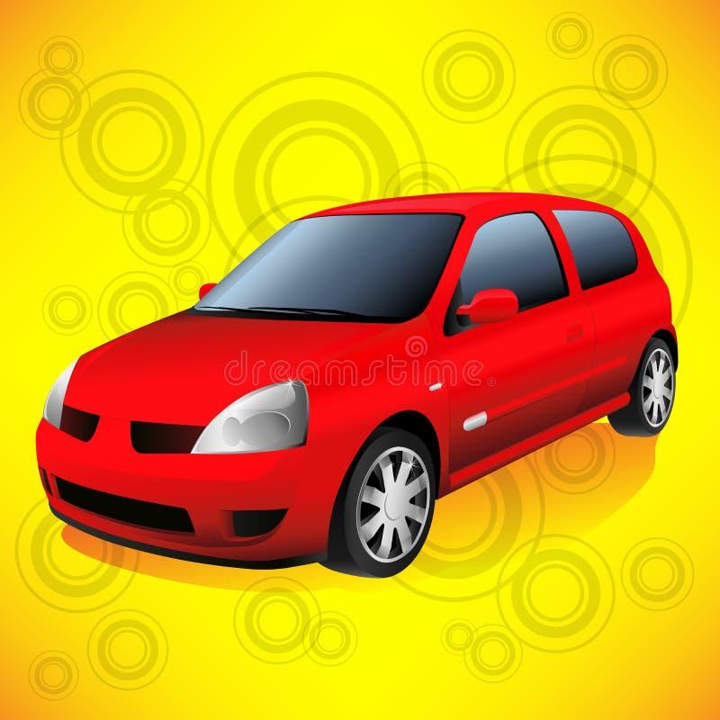 Liten röd stadsbil på skraj orange Retro bakgrund vektor illustrationer