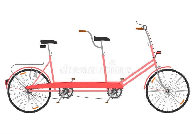 Liten retro tandemcykel royaltyfri illustrationer