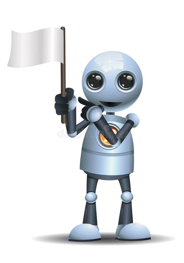 liten robot att rymma ett flaggabaner vektor illustrationer