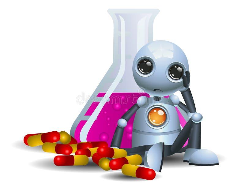 liten robot för droid som konsumerar preventivpillerar på isolerad vit royaltyfri illustrationer