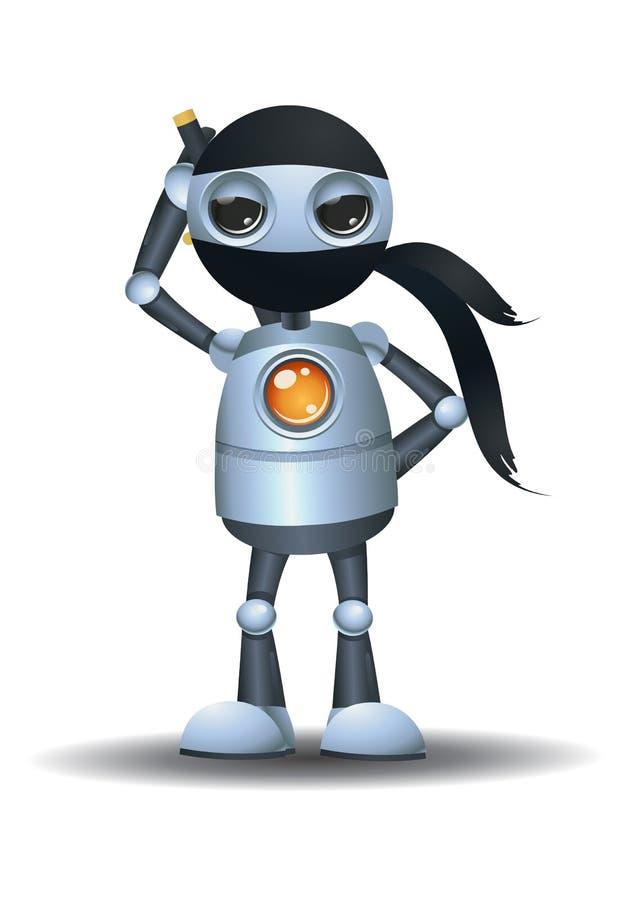 liten robot som ?r en ninja royaltyfri illustrationer